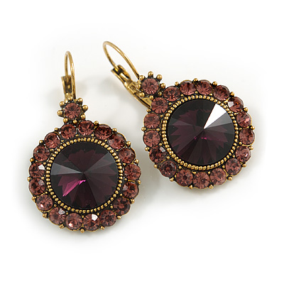 Vintage Inspired Round Cut Amethyst Glass Stone Drop Earrings With Leverback Closure In Antique Gold Metal - 40mm L