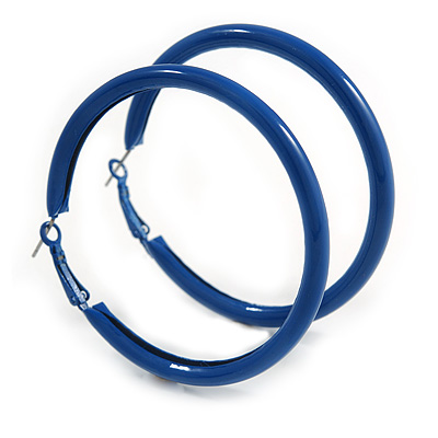 Large Blue Enamel Hoop Earrings In Silver Tone - 60mm Diameter