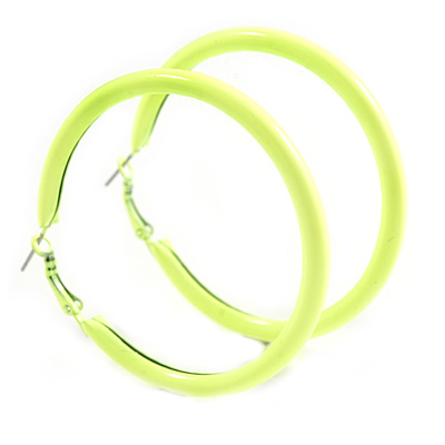 Large Neon Yellow Enamel Hoop Earrings In Silver Tone - 60mm Diameter