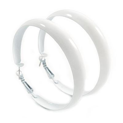 60mm Large White Enamel Hoop Earrings