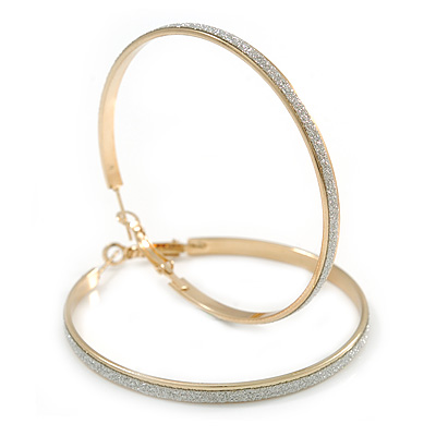 60mm Large Hoop Earrings In Gold Tone Metal with Glitter Effect