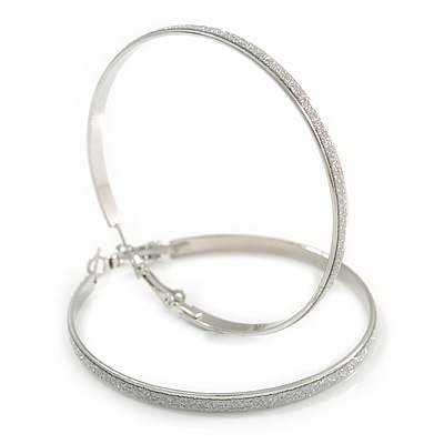 60mm Large Hoop Earrings In Silver Tone Metal with Glitter Effect