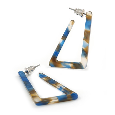 Trendy Triangular Acrylic Hoop Earrings In Blue/ Brown - 45mm Long