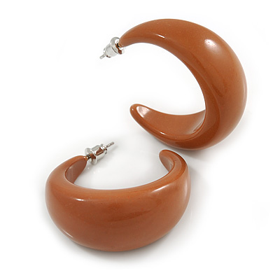 Cocoa Brown Acrylic Half Hoop Earrings - 37mm Diameter