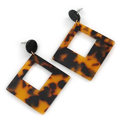 8e33faa40 Trendy Square Tortoise Shell Effect Black/ Brown Acrylic/ Plastic/ Resin Drop  Earrings -