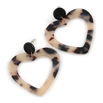 Romantic Open Heart Tortoise Shell Effect Black/ Beige Acrylic/ Plastic/ Resin Drop Earrings - 50mm L