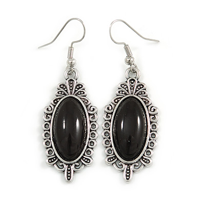 Vintage Inspired Oval Black Ceramic Stone Filigree Drop Earrings In Silver Tone - 50mm Long