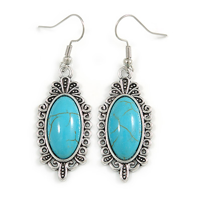 Vintage Inspired Oval Turquoise Stone Filigree Drop Earrings In Silver Tone - 50mm Long