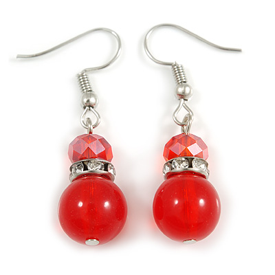 Red Glass Crystal Drop Earrings In Silver Tone - 40mm L - main view