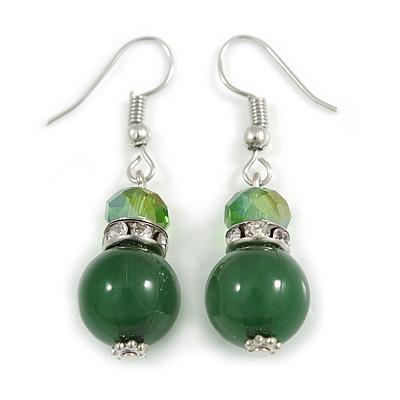 Green Glass Crystal Drop Earrings In Silver Tone - 40mm L