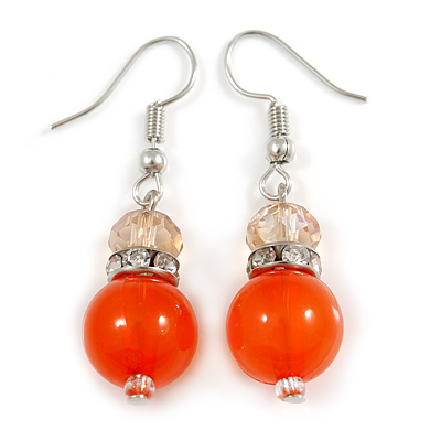 Orange Glass Crystal Drop Earrings In Silver Tone - 40mm L - main view