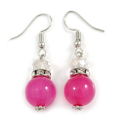Pink Glass Crystal Drop Earrings In Silver Tone - 40mm L - main view