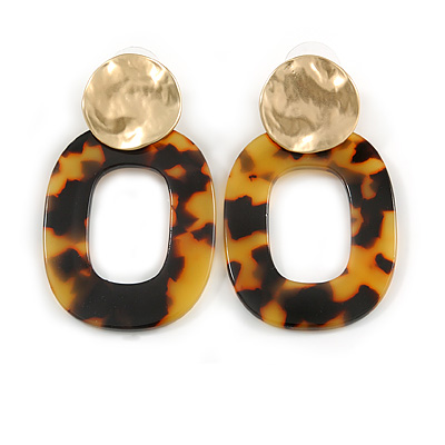 Trendy Tortoise Shell Effect Brown/ Yellow Oval Acrylic Drop Earrings In Matt Gold Tone - 55mm Long