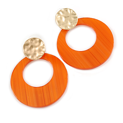 Statement Orange Acrylic Hoop Earrings In Matt Gold Tone - 55mm L