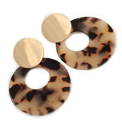 Trendy Tortoise Shell Effect Beige/ Black Round Hoop Acrylic Drop Earrings In Gold Tone - 50mm L
