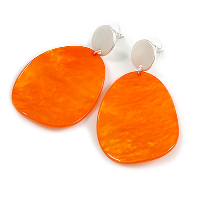 Statement Orange Acrylic Curvy Oval Drop Earrings In Matt Silver Tone - 65mm L