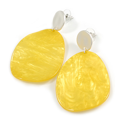 Statement Pineapple Yellow Acrylic Curvy Oval Drop Earrings In Matt Silver Tone - 65mm L