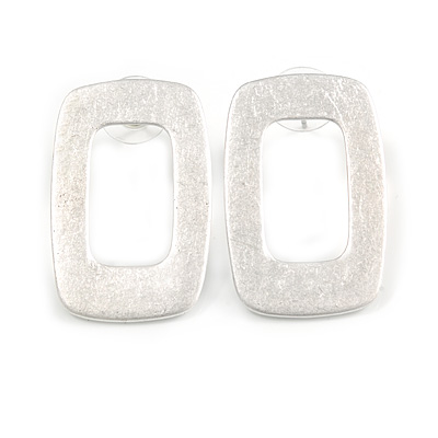 Contemporary Square Satin Scratched Effect Stud Earrings in Light Silver Tone Metal - 35mm Long