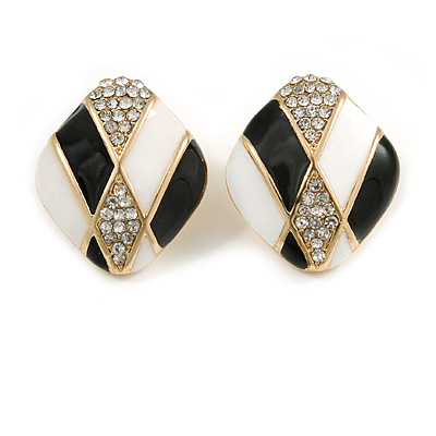 Black/ White Enamel Crystal Square Stud Earrings In Gold Tone - 20mm L