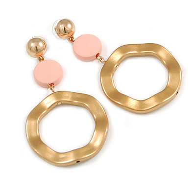 Statement Long Matt Gold Acrylic Hoop with Light Pink Bead Drop Earrings - 80mm L