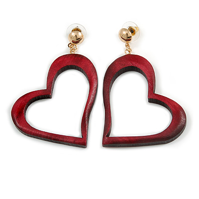 Ox Blood Wood Open Cut Heart Drop Earrings with Gold Tone Post Closure - 60mm L