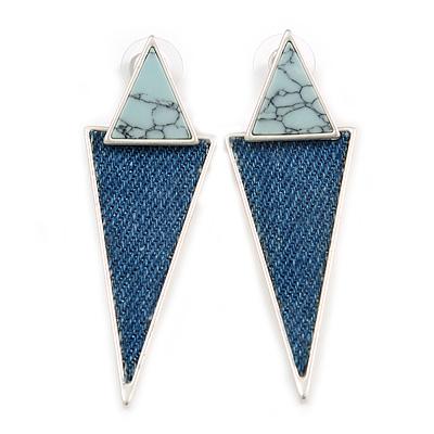 Contemporary Triangle Blue Denim Drop Earrings In Light Silver Tone - 60mm L