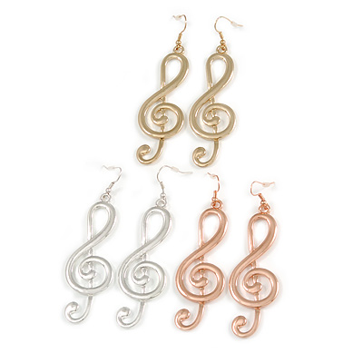 3 Pairs of Musical Note/ Treble Clef Drop Earrings In Silver/ Gold / Rose Gold Tone - 8cm L