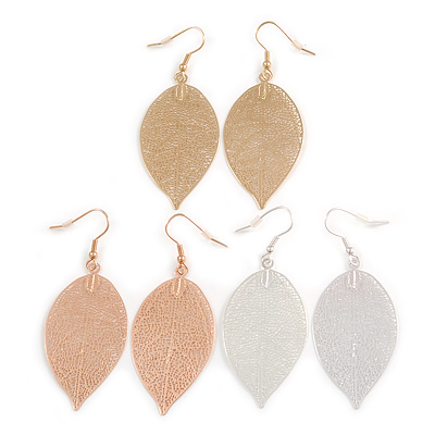 Set of 3 Pairs Delicate Filigree Leaf Drop Earrings In Gold/ Rose Gold/ Silver Tone - 65mm L
