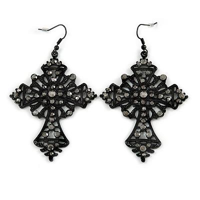 Statement Large Victorian Style Hematite Crystal Cross Drop Earrings In Black Tone - 80mm L