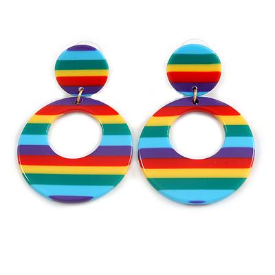 Funky Rainbow Effect Acrylic Hoop/ Drop Earrings - 50mm Long