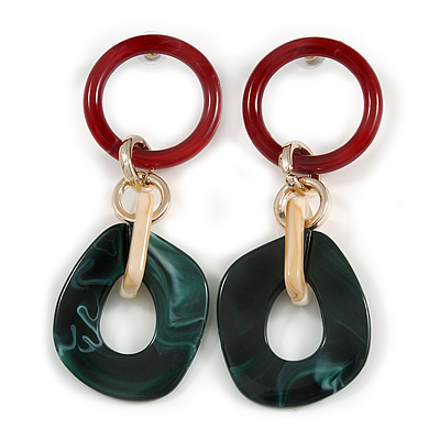 Trendy Long Geometric Acrylic Drop Earrings In Ox Blood/ Dark Green/ Gold with Marble Effect - 11cm L