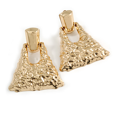 Statement Gold Tone Hammered Triangular Drop Clip On Earrings - 60mm Long