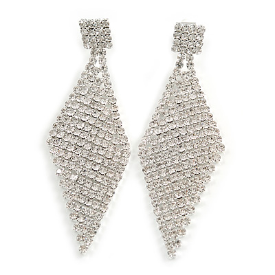 Long Top Grade Austrian Crystal Mesh Clip On Earrings In Silver Plating - 70mm L