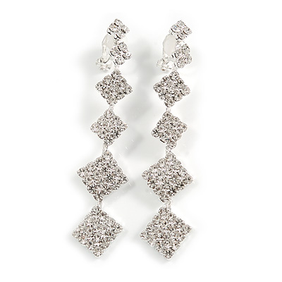 Statement Clear Crystal Graduated Square Clip On Earrings In Silver Tone Metal - 70mm Long
