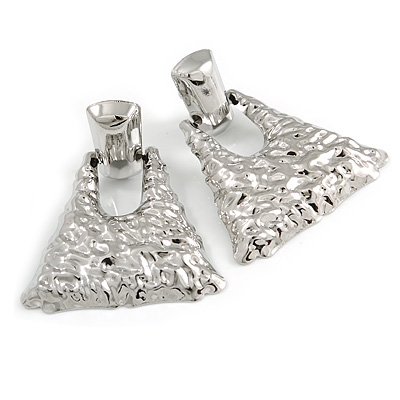 Statement Silver Tone Hammered Triangular Drop Clip On Earrings - 60mm Long