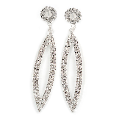 Long Bridal/ Wedding/ Prom Clear Crystal Chandelier Clip On Earrings In Silver Tone - 85mm L