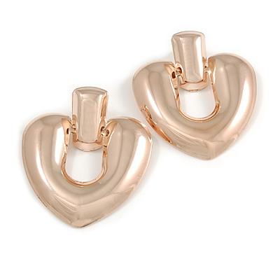 Large Polished Rose Gold Tone Heart Drop Earrings - 60mm Long