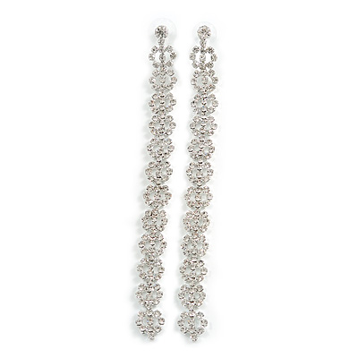 Statement Extra Long Clear Crystal Linear Earrings In Silver Tone - 13cm Long