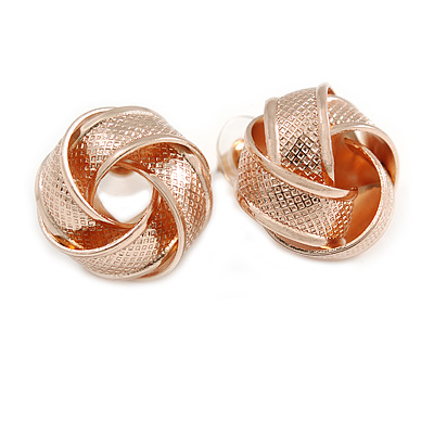 Rose Gold Tone Textured Knot Stud Earrings - 20mm D