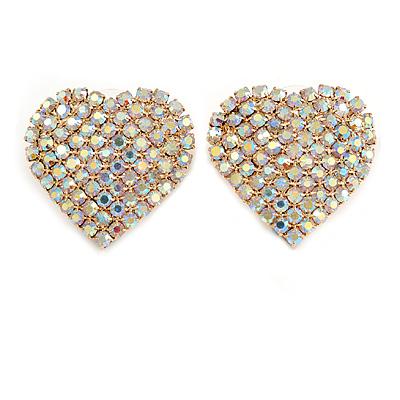 AB Crystal Heart Earrings In Gold Tone Metal - 25mm Long