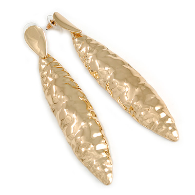 Large Contemporary Hammered Leaf Earrings In Gold Tone Metal - 11.5cm L