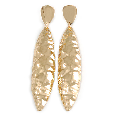 Large Contemporary Hammered Leaf Clip On Earrings In Gold Tone Metal - 11.5cm L