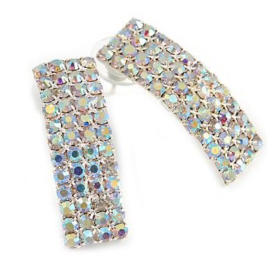 C-Shape AB Crystal Stud Earrings In Gold Tone Metal - 30mm Long