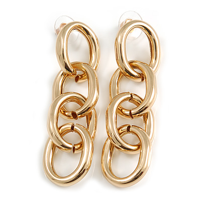 Polished Gold Tone Chunky Oval Link Drop Earrings - 70mm Long