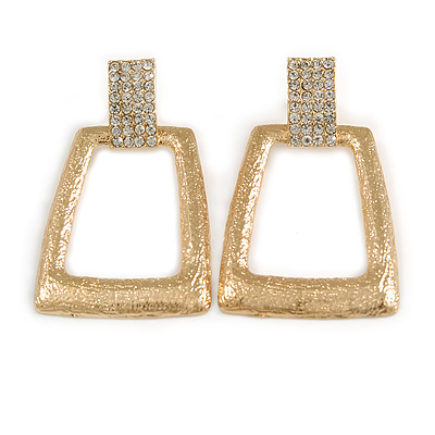 Contemporary Square Textured Crystal Drop Earrings In Gold Tone - 60mm L