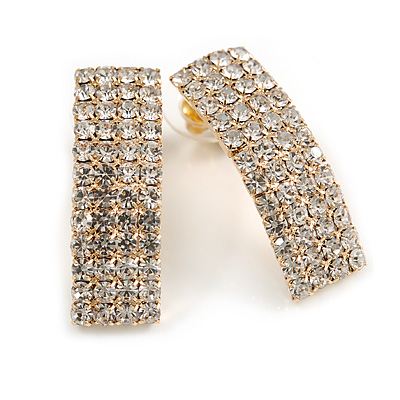 C-Shape Clear Crystal Stud Earrings In Gold Tone Metal - 30mm Long