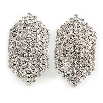 C Shape Clear Crystal Stud Earrings In Silver Tone - 30mm Long