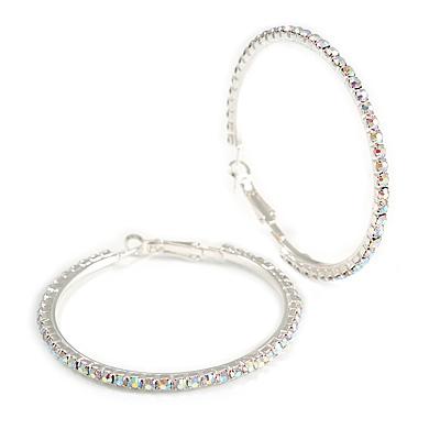 55mm Large AB Crystal Hoop Earrings In Silver Tone Metal
