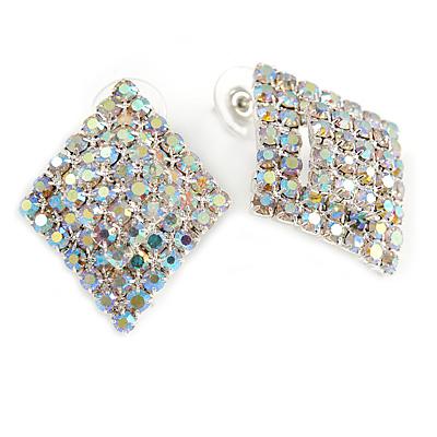 AB Crystal Diamond Stud Earrings In Silver Tone Metal - 30mm Long