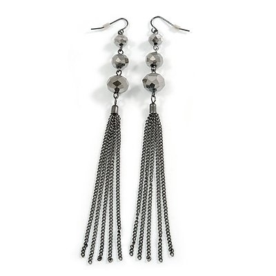 Long Hematite Crystal Chain Tassel Drop Earrings In Black Tone Metal - 13cm Long